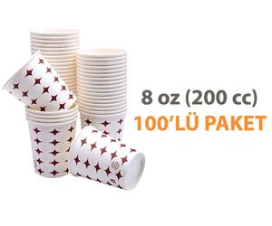 Karton Bardak 8 Oz 100'lü Çay, Kahve ve Meşrubat Bardağı