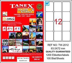 Tanex TW-2012 63.5x72 mm Beyaz Lazer Etiket